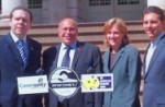 TULIP's launch at New York's City Hall, May 2009.  Pictured: AWU President Paul Howes, RWDSU President Stuart Appelbaum, and NYC City Council Members Melinda Katz and Eric Goia